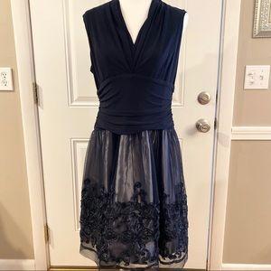 SLNY navy blue cocktail dress